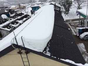 こちらの住宅では雪を落とせない側の屋根にヤネラクネットを設置して融雪しています。