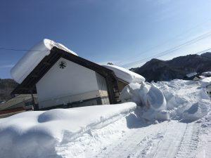 蔵は人が住んでいないのでキンキンに冷えて、雪がくっついて落ちづらい。そんな屋根にもヤネラク。 でも今回の雪は多すぎでした。